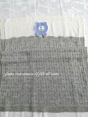 Copertina culla in pura lana merinos 100% grigia con orsetto / corredino bambino