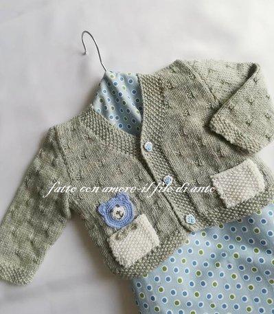 Cardigan / maglia / bambino in pura lana merinos grigia
