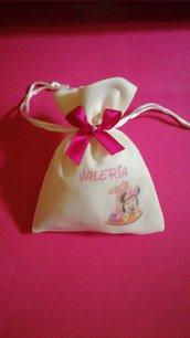 Sacchetto sacchetti stampa personaggio Minnie festa compleanno battesimo nascita gessetto confetti bomboniere bomboniera