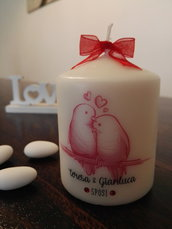 bomboniera matrimonio, segnaposto, candela