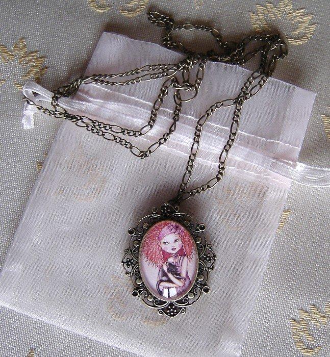 Collana cammeo ottone invecchiato-Red hair black cat