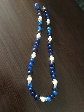 Collana con lapislazzuli, perle e agata blu