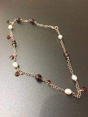 collana con granati e perle naturali