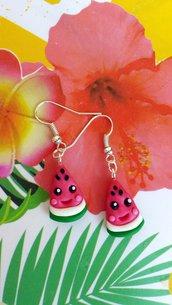 Orecchini anguria in fimo, orecchini estivi, gioielli per l'estate, gioielli per il mare, orecchini bambina, gioielli kawaii, tropicali