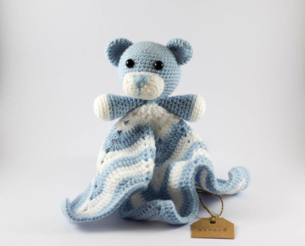 Copertina Doudou orsetto azzurro e bianco