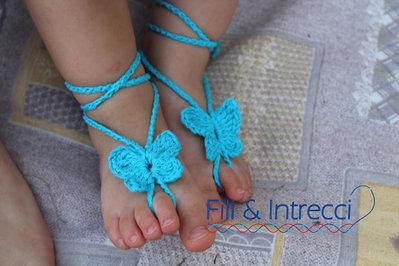 Infradito bimba / farfalla all'uncinetto / decorazione artigianale bambina