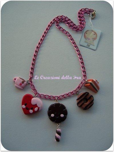 """Collana miniature """"Dolcetti"""" in fimo (base rosa)"""