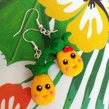 Orecchini ananas in fimo, orecchini estivi, gioielli estate, bijoux kawaii, frutti esotici, frutti tropicali, regali divertenti, ragazza
