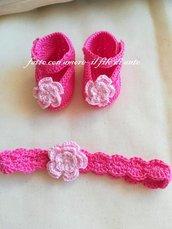 Scarpine e fascia bambina in puro cotone con fiore rosa