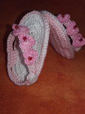 Sandali Infradito neonata scarpina bebe puro cotone estivo lavorare all'uncinetto idea regalo mamma e bambino