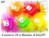 BOMBONIERA FIMO MAGNETE COMPLEANNO 18 ANNI FLUORESCENTE FESTA EVENTO CUORE SACCHETTO CONFETTATA