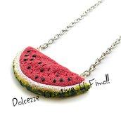 Collana Estiva - Fetta di anguria - idea regalo handmade - collana frutta estiva
