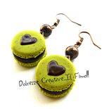 Orecchini Macarons heart - Macaron al pistacchio e cioccolato - miniature handmade
