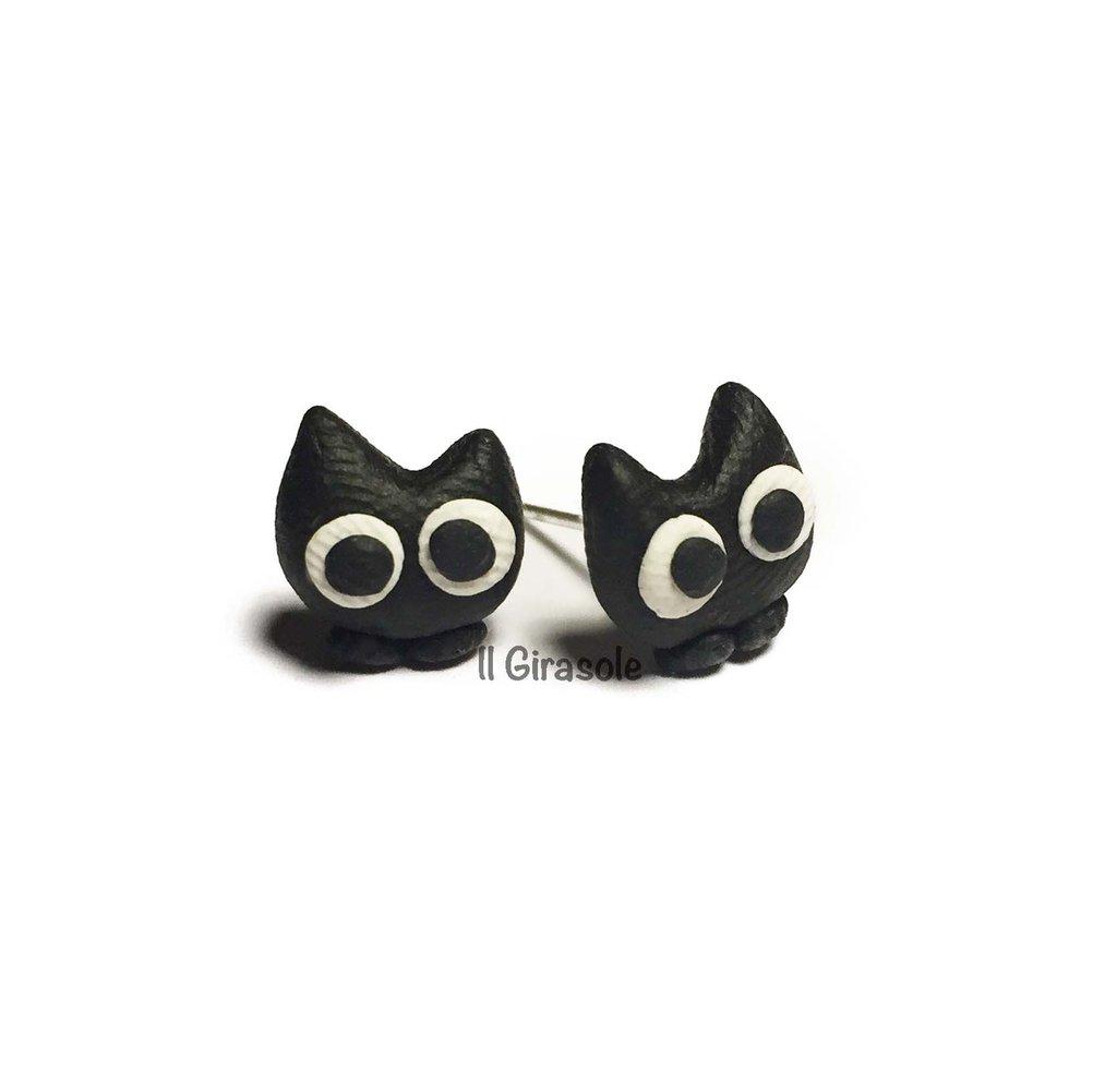 Orecchini gatto nero in pasta polimerica fimo a perno