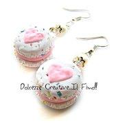 Orecchini Macarons heart - Macaron codette - arcobaleno e fragole - miniature handmade