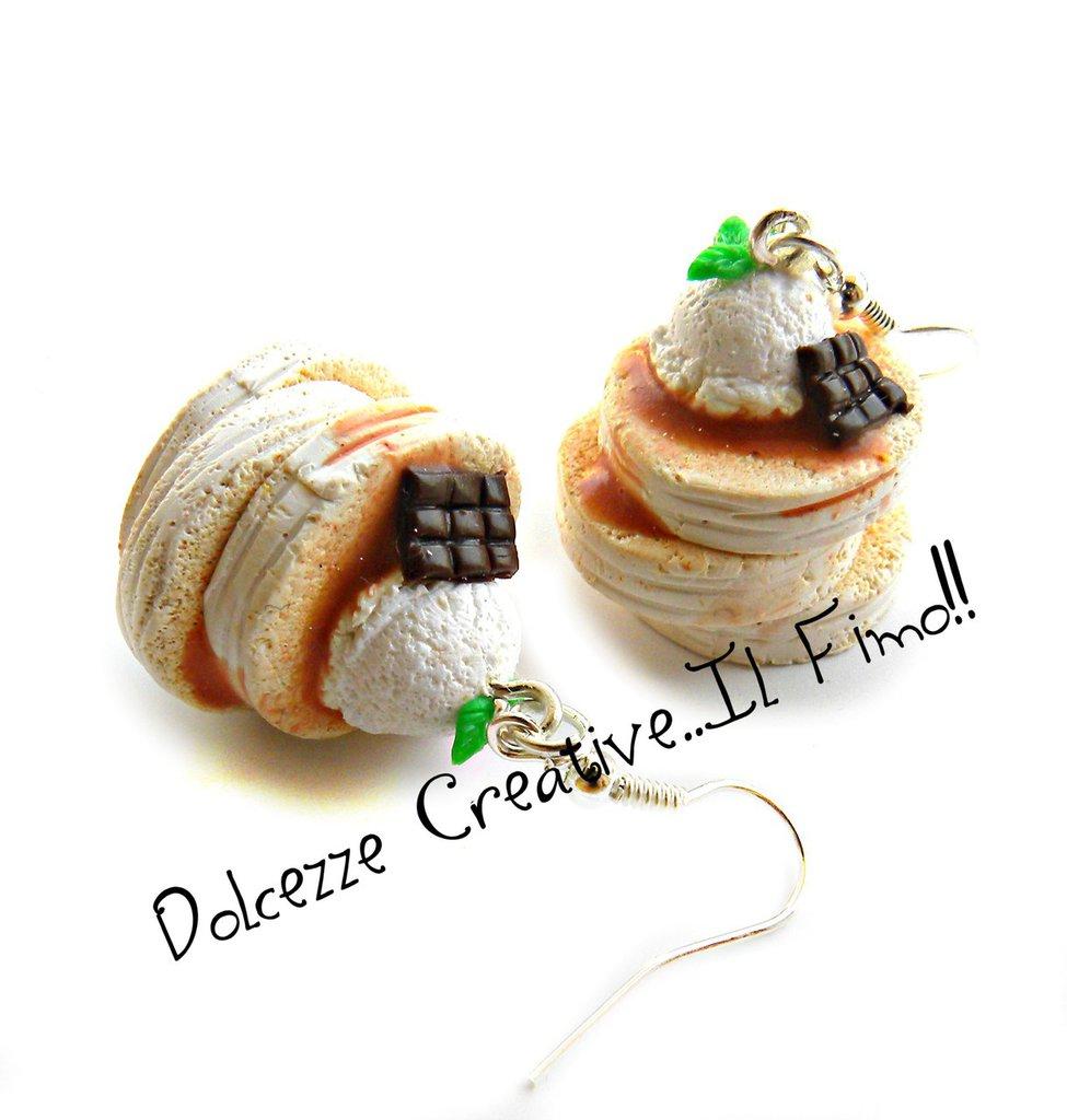 Orecchini Pancake soffici japan style con gelato alla vaniglia, foglie di menta e cioccolato - idea regalo - miniature