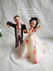 Cake topper sposi personalizzati zombie