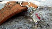 Collana pesciolino ampolla resina cristallo acciaio inossidabile idea regalo bigiotteria mare