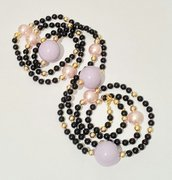 """Collana lunghissima con perle nero/rosa/lilla """"Glykeria"""" - riservata Sonia"""