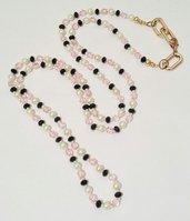 """collana lunga con perle e cristalli """"Tre colori dieci 6"""""""