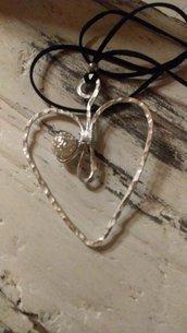"""Cuore """"Romantico"""" con inserto perla in alluminio"""