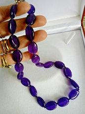 Collana donna in vera ametista pietre dure naturali perle ovali 18 mm chakra cristalloterapia