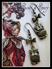 OWLS EARRINGS-ORECCHINI VINTAGE CON GUFO