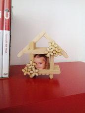 Porta foto  legno regalo creazione bastoncini misshobby.com doni e bomboniere natale