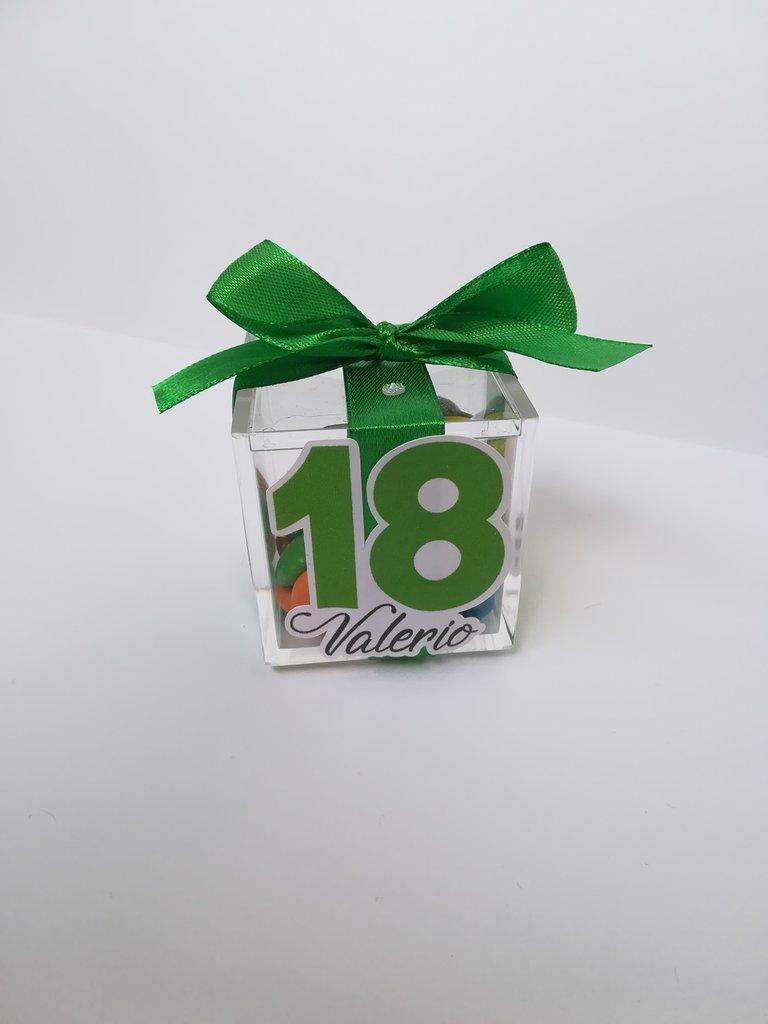 Scatolina scatola segnaposto confetti compleanno 18 anni anniversario nome festa party plexiglass