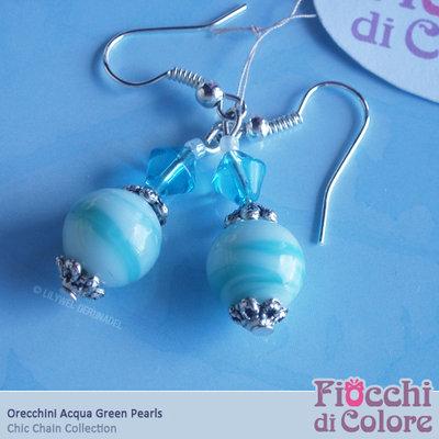 AcquaGreen Pearls Earrings