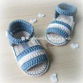 Sandali/scarpine neonato cotone jeans chiaro/avorio/bianco - uncinetto - fatto a mano