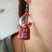 Orecchini distributore di caramelle, orecchini in fimo, creazioni in fimo, miniature, regalo per lei, gioiello artigianale, gioiello anni 50