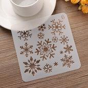 """Stancil """"Snowflake - Fiocco di neve"""" (13x13cm) (cod.3scrap)"""