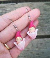 Orecchini in fimo,orecchini elfo, fata, folletto magico, orecchini primavera, idea regalo, gioiello artigianale in fimo, charms in fimo