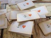 Bigliettini confetti matrimonio bomboniera bianchi con icone emoji