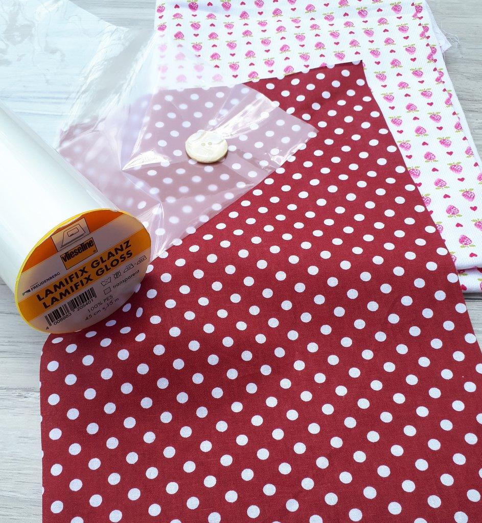 KIT di materiali per realizzare una MAIL POCHETTE con tessuto plastificato (Fragoline)