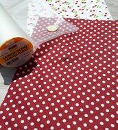KIT di materiali per realizzare una MAIL POCHETTE con tessuto plastificato (Ciliegie)