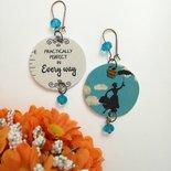 Mary Poppins orecchini di carta pendenti con ciondolo a cerchio e perline celesti