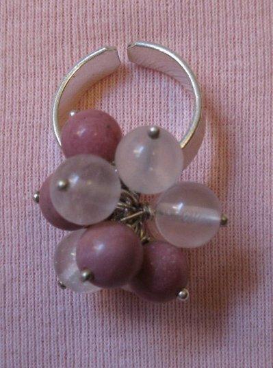 Anello argento charms rodonite e quarzo rosa