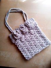 borsa uncinetto da sera elegante grigio argento - borsetta per cerimonia - borsa piccola a spalla a mano fatta a mano - clutch con fiori pochette