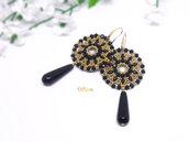 orecchini con cristalli neri, orecchini goccia agata, orecchini eleganti per cerimonia
