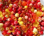Mix perle rosso arancio giallo 150 grammi
