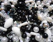 Mix perle bianco nero trasparente 150 grammi