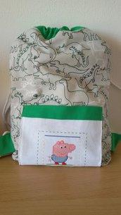 Zainetto sacca per bambino con ricamo punto croce George Peppa Pig