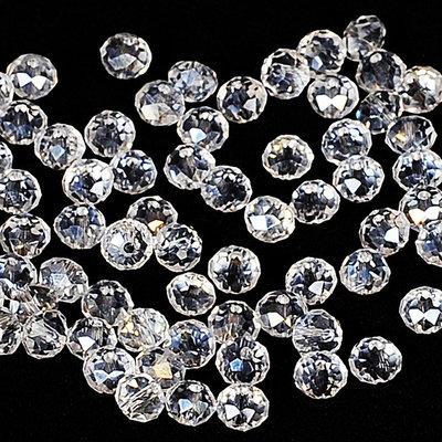 50 perle rondelle cristallo trasparente 6 mm