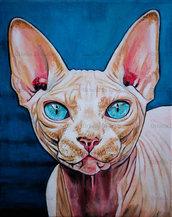 Ritratto gatto sphynx acrilico su tela