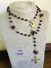 Collana rosario viola e dorata💜💛