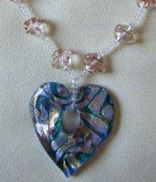 bellissima collana con ciondolo a forma di cuore in vetro di murano  e mezzo cristallo