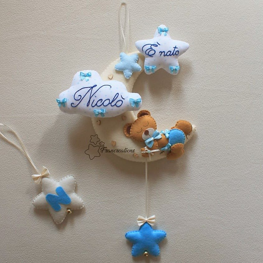 Fiocco nascita bimbo - Fiocco nascita stelle - Fiocco nascita luna - Decorazione nascita - Fiocco nascita Pannolenci - Cameretta bebè