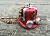 collana steampunk, collana in fimo, gioiello artigianale, gioiello steampunk, collana rame, cappello steampunk